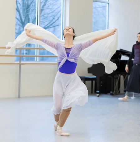 Xuan Cheng in rehearsal as Juliet for Canfield's ballet. Photo: Blaine Truitt Covert