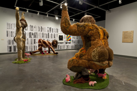 "Installation shot from ""Alien She,"" which closed in January at MoCC: In foreground: Ladies Sasquatch (2006-2010). Photo courtesy of Allyson Mitchell and Katharine Mulherin Gallery, Toronto."