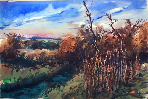"Henk Pander, ""River in Refuge,"" (2015) 40x60 inches, watercolor"
