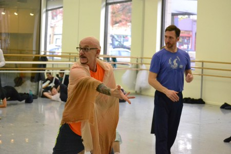 "As choreographer James Canfield takes up the foreground, ballet master Jeff Stanton carefully backs him up in rehearsal for ""R&J."" Photo: Sam Cole"