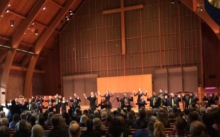 Ethan Sperry (far left) led PSU Chamber Choir at Portland's First Methodist Church.