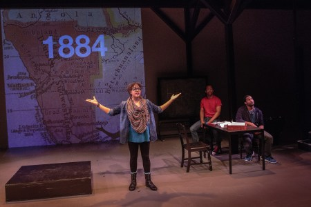 """Chantal DeGroat presents a section of """"We Are Proud to Present"""" at Artists Repertory Theatre/Photo by Owen Carey"""