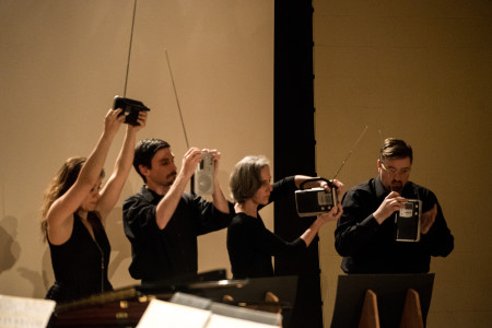 Third Angle New Music performed John Cage's 'Imaginary Landscape #4.' Photo: Jacob Wade.