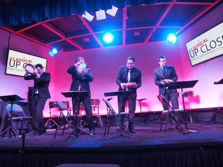 Oregon Symphony percussionists are among the performers at Classical Up Close this weekend.