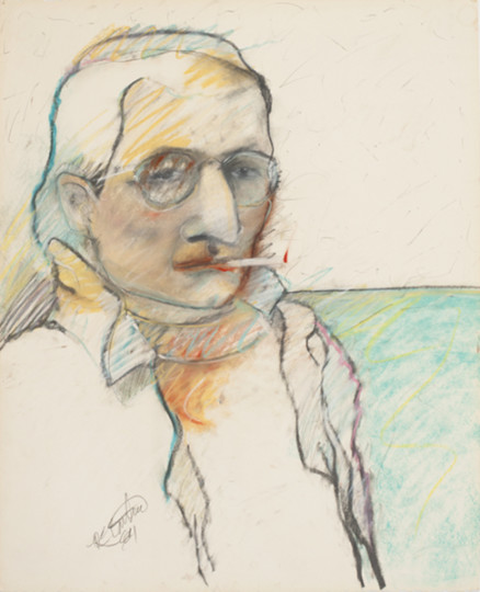 """""""Self,"""" 1984. Drawing; pastel, graphite on paper, 22.25 x 18 inches"""