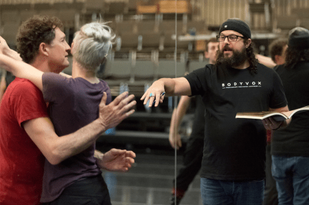 "BodyVox's Jamey Hampton (left) and songwriter/musician Jeremy Wilson (center), novice choreographer, in a February rehearsal for ""Pearl Dive Project."" Photo © Blaine Truitt Covert"
