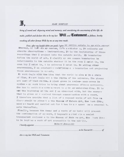 """Alan Sonfist, """"Last Artwork, Will and Body,"""" 1972-1973"""