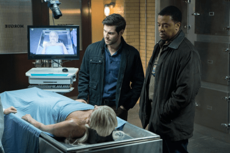 Stole trying to lie very still and not put in her own two cents while detectives Nick (David Giuntoli) and Hank (Russell Hornsby) discuss her character's cause of death with the medical examiner. (Photo by NBC/Scott Green/NBC - © 2015 NBC Universal Media)