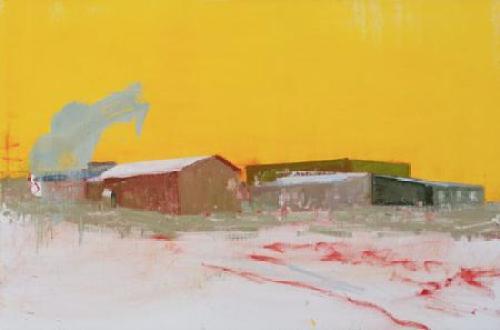"""Stephen Hayes, """"La Loche, Saskatchewan (1. 22. 16)"""", oil on canvas, 2016, 23 x 35 inches"""