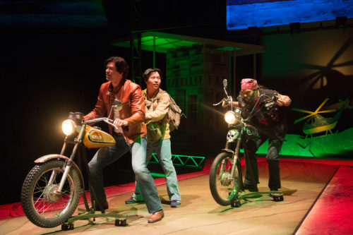"Quang (James Ryen) and Nhan (Will Dao) have a run-in with a redneck biker (Paco Tolson) in ""Vietgone."" Photo :Jenny Graham, Oregon Shakespeare Festival"