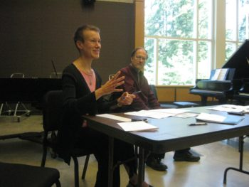 University of Oregon faculty members Molly Barth and Robert Kyr at the Composers Symposium.