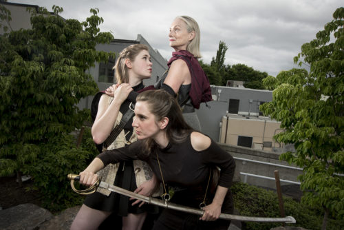 Lindsay Partain as Virgilia, Arianne Jacques as Valeria, and Maryanne Glazebrook as Volumnia. Casey Campbell Photography