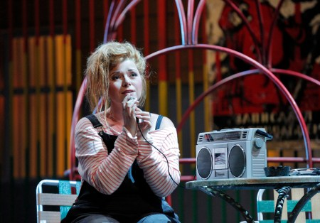 Tatiana (Jennifer Forni) records her love letter to Eugene on her boom box/Photo by Cory Weaver.