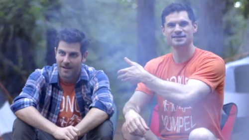 """Grimm"" star David Giuntoli and Flula Borg in ""Buddymoon"": a walk in the Oregon woods."