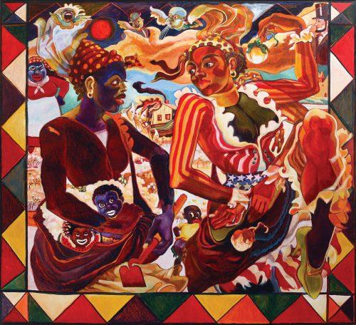 "Arvie Smith, ""Dem Golden Slippers,"" 2007, oil on linen, 60.25 x 66 inches, Portland Art Museum, gift of Donna Hammar."