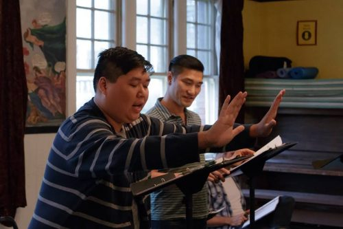 """Ken To and Ming Langley rehearsing Chay Yew's """"A Language of Their Own."""" Theatre Diaspora photo."""