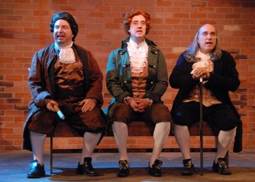 "Formidable trio: from left, Darius Pierce (John Adams), Adam Elliott Davis (Thomas Jefferson), Mark Pierce (Ben Franklin) in ""1776."" Triumph Photography"