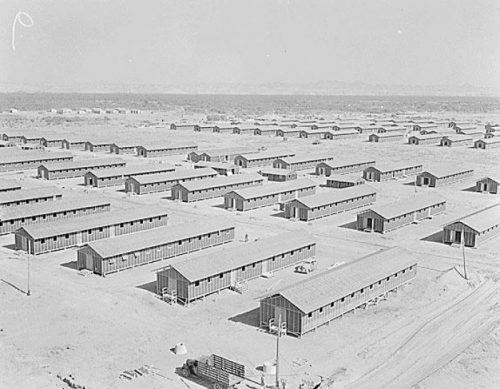 View of Poston concentration camp, Arizona, where members of playwright Jeanne Sakata's family were incarcerated, Jun. 1, 1942. Photo: Densho Encyclopedia http://encyclopedia.densho.org/sources/en-denshopd-i37-00476-1/
