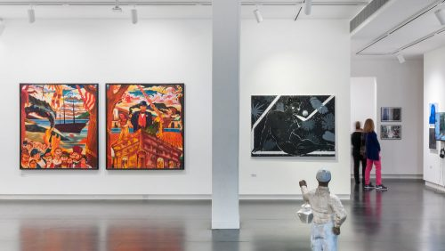 "Arvie Smith's ""Manumissions,"" left, and Devan Shimoyama's ""Adjusting to the uminous Black."" Collection of John Goodwin and Michael-Jay Robinson. Upfor Gallery."