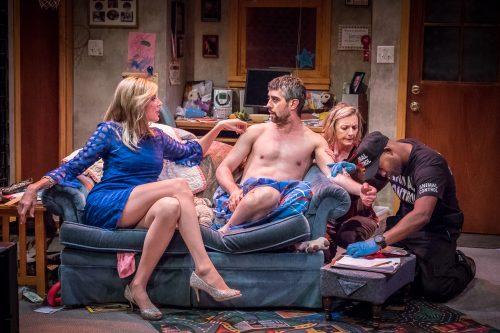 "Jana Lee Hamblin, John San Nicolas, Sarah Lucht, Joseph Gibson: couch potatoes and more in ""Trevor."" Photo: Owen Carey"