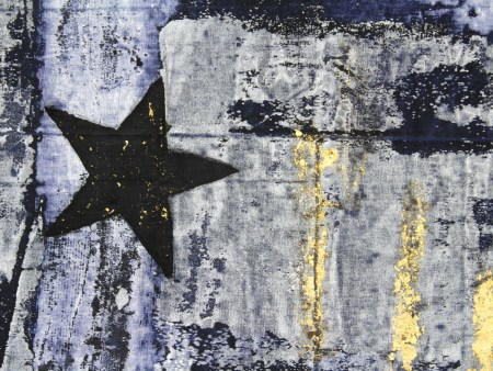 "Modou Dieng, detail from 'Goodbye Blue Sky...', acrylic and gold leaf on European Flag and denim, 2016, 61.75 x 39.5""/Courtesy of Nationale"