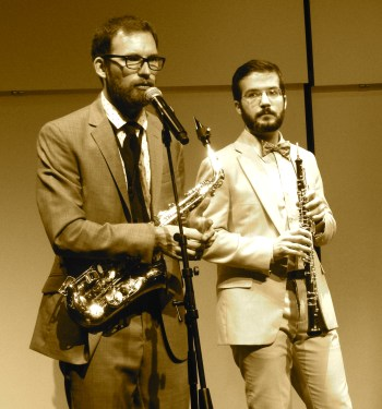 Akropolis's Tim Gocklin (r), oboe and Matt Landry (l) saxophone spoke from the Winningstad Theatre stage.