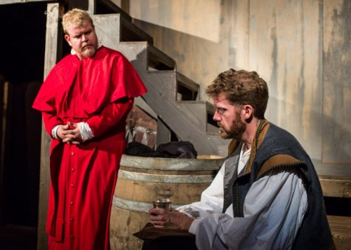 "Bill Cain's ""Equivocation,"" directed by Paul Angelo and featuring Todd Van Voris (left) and Keith Cable, was a hit for Post5 in September 2015. Russell J Young photo"