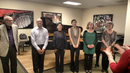 The pianists take their bows at Portland Piano Company.