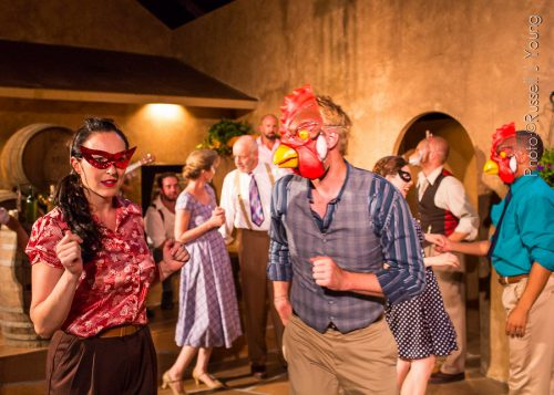 "Founders Cassandra and Ty Boice (foreground) starred as Beatrice and Benedick in a spritzy, screwball-comedy feeling ""Much Ado About Nothing"" in July 2015. Russell J Young photo"