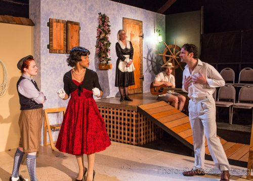 "From left: Jessica Tidd, Chip Sherman, Tori Padellford, Jim Vadela, Tom Walton in a clownish, contemporary ""Twelfth Night"" in April 2015. Russell J Young photo"