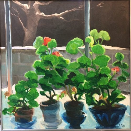 "Shirley Gittelsohn, ""Geraniums - Snow - Night,"" 1981. Oil on Canvas, 48½ X 48½ inches. Courtesy of Reed College"