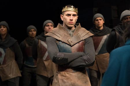 The Oregon Shakespeare Festival. 2018. Henry V by William Shakespeare. Directed by Rosa Joshi. Scenic Design: Richard L. Hay. Costume Design: Sara Ryung Clement. Lighting Design: Geoff Korf. Composer and Sound Designer: Palmer Hefferan. Dramaturg: Amrita Ramanan. Voice and Text: David Carey. Research Dramaturg: Alan Armstrong. Choreography: Alice Gosti. Fight Director: U. Jonathan Toppo. Scenic Design Associate: Richard L. Anderson. Stage Manager: Jill Rendall. Photo: Jenny Graham.