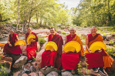 Tibetan monks of Gaden Shartse Monastery have been on the road for over a year, making presentations and sand mandalas from coast to coast. They will be in Newport from March 12-17. Photo by: Tripp Mikich