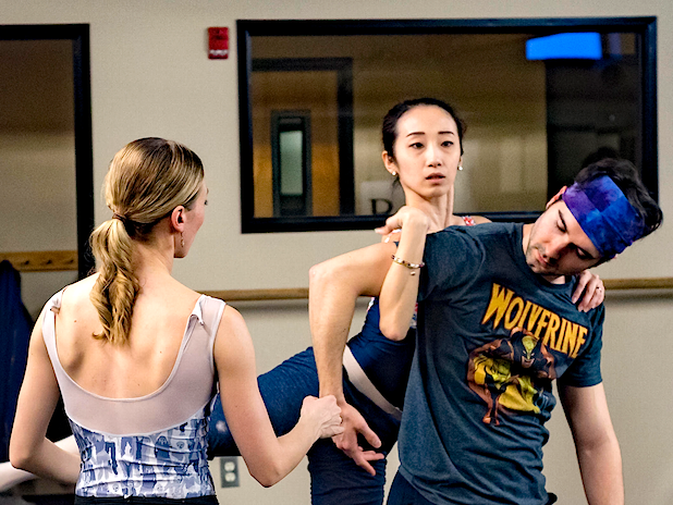 "Suzanne Haag (left) coaches Reed Souther and Yuki Beppu in ""Surrounding Third."" Photo by Antonio Anacan"