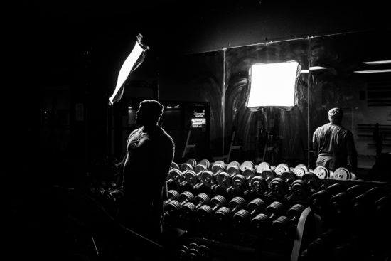"""The Myth,"" is among the images shot in a private gym in Vancouver, Wash. McAdams leaves the weight-lifter, a ""long-time friend,"" anonymous. ""I like the mystery of it,"" he says."
