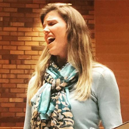 Mezzo-soprano Sarah Maines rehearses at Cerimon House for February 3rd Women Singing Women concert. Photo courtesy of Resonance Ensemble.