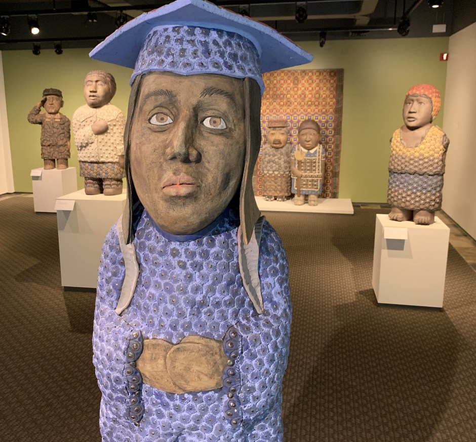 """Dreamer,"" by George Rodriguez, greets visitors at the Hallie Ford Museum of Art as they enter the chamber featuring the sculpture series ""Sanctuary"" (2017, stoneware with glass, courtesy of the artist and the Foster/White Gallery in Seattle). Photo by: David Bates"