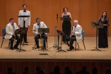 Singers Zachary Lenox, Hannah Penn, and Vanessa Isiguen, and basset horn players Todd Kuhn, James Shields, and Richard Hawkins perform Mozart at CMNW. Photo by Tom Emerson.