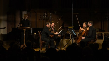 Micah Fletcher and Pyxis Quartet at The Old Church in 2018. Photo by Seth Nehill.
