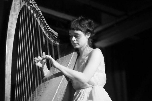 Harpist and composer Sage Fisher. Photo by Matt Hook.