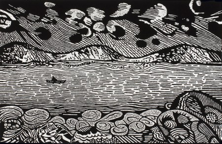 Woodcut Print Original Woodblock Print Landscape Nature Contemporary Woodcut Printmaking Raven