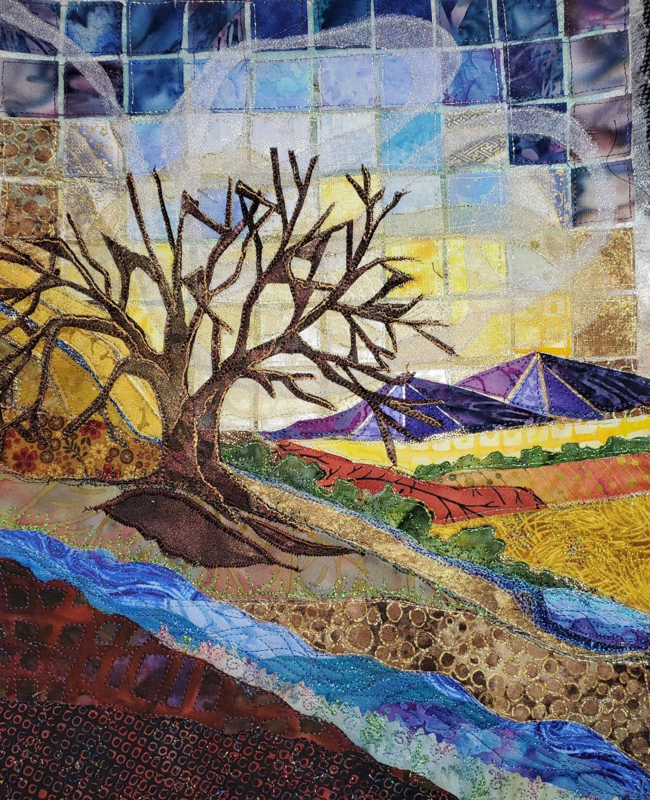 """Happy Place,"" by Marlene Eichner, was made with mosaic and applique techniques and is based on a watercolor by an artist friend, Joan Weins. Eichner calls it a ""stylized representational landscape."" Photo courtesy: Marlene Eichner"