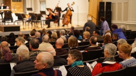 Oregon Music Players performed Reena Esmail and Kevin Puts, October 2019 in Eugene's Beall Hall. Photo by Torrin Riley.