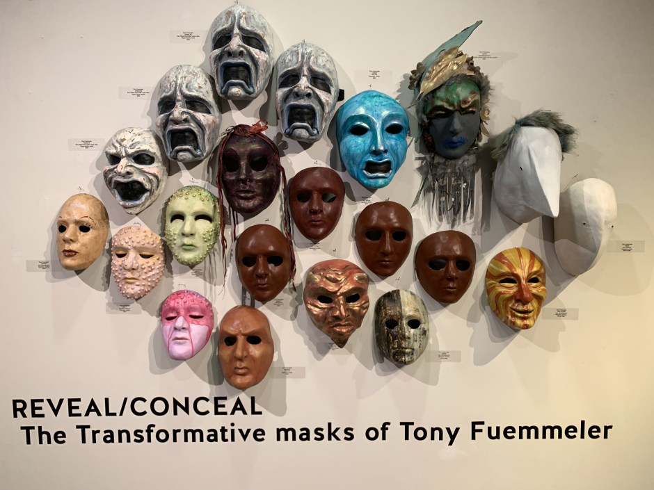 """""""Reveal/Conceal"""" is one of four exhibits revolving around masks on display in the Chehalem Cultural Center. Photo by: David Bates"""