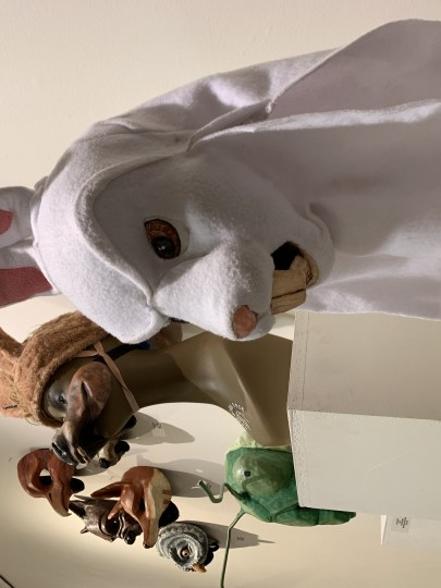 Tony Fuemmeler's Evil Bunny is a character from Grand Guignol, the Paris theater famous for staging horror stories (paper-mache, acrylic, fleece, fabric, wire). Photo by: David Bates