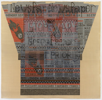 "Painting in orange and black gouache on off-white paper of newspaper-print sweater design, rendered in tiny dots in a large grid; design reads ""newspaper"" and ""stop war"", and contains images of broken bombs adorned with peace signs."