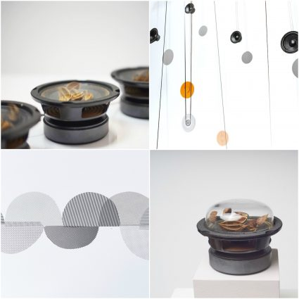 Four photographs of parts of a sound art installation: small speakers placed on gallery floor with seedpods inside them, speakers and cassette tape loops hanging on gallery wall, half circles of gray patterned material, a small speaker on a plinth with seed pods inside and a glass cover on top.