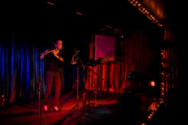 """Sarah Tiedemann performed at Third Angle's """"Back in the Groove"""" concert at Jack London Revue. Photo by Kenton Waltz."""