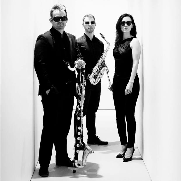 Left to right: James Shields, Sean Fredenburg, Sarah Tiedemann. Photo courtesy of Third Angle New Music.