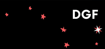 """Drinking Gourd Fellowship logo: red starts in the shape of the big dipper constellation on black background, with white letters """"DGF"""" in upper right corner."""